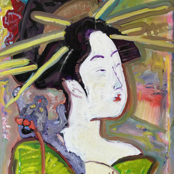 Geisha Pop Art Painting Japanese Art Signed Original Painting by American artist Matt Pecson 24x36 Canvas Painting Original Oil Painting