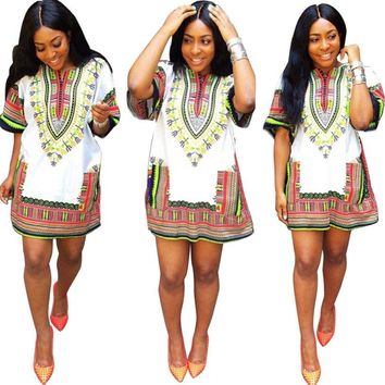 African Summer Dress   Straight Print Above Knee