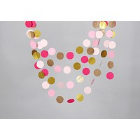 Pink and Sparkly Gold Party Bunting Banner