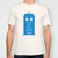 Hands of our NHS doctor Who style T-shirt by Purshue Feat Sci Fi Dude