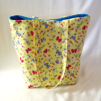 Butterfly Tote Bag, Cloth Purse, Handmade Handbag, Fabric Bag, Yellow, Floral Tote Bag, Shoulder Bag, Gift for Her