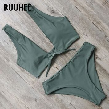 RUUHEE New Bikini Swimwear Women Swimsuit Bathing Suit Bikini Set 2018 High Cut Moderate Coverage Sexy Bottom Female Beachwear