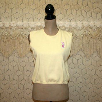 Piglet Disney Clothing Yellow Sweater Vest Sleeveless Knit Top Medium Embroidered Cotton Pastel Spring Womens Clothing