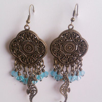 Antique Bronze Seahorse Chandelier Earrings with Light Turquoise Swarovski Crystals and Preciosa Matte Turquoise Crystals // 3.5""