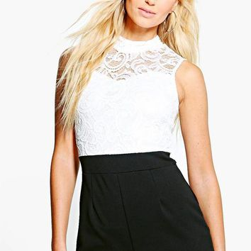 Helena Lace High Neck Playsuit | Boohoo