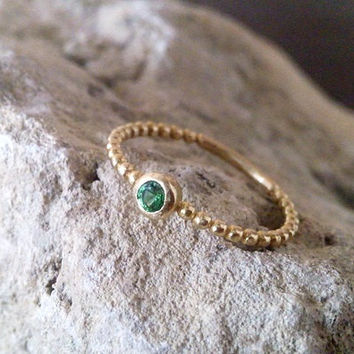 SALE!Small Emerald ring,gold emerald ring,delicate stackable ring, birthstone ring, mothers ring,14k gold filled,simple ring.
