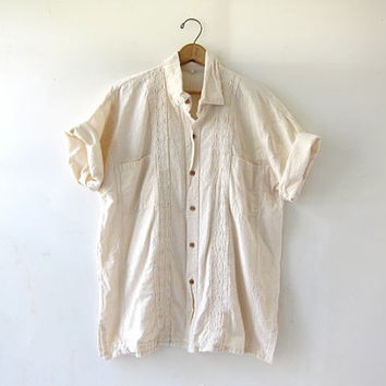 Vintage mexican wedding shirt. cotton guayabera shirt. natural white button up shirt. tshirt. beach shirt. modern minimalist. mexican shirt.