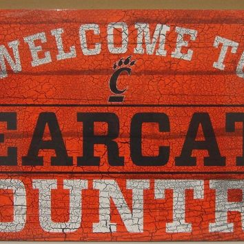"CINCINNATI BEARCATS WELCOME TO BEARCATS COUNTRY WOOD SIGN 13""X24'' NEW WINCRAFT"