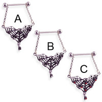 Nipple ring with dangling jeweled spider web, 14 ga