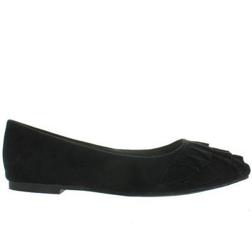 Seychelles Downstage   Black Suede Ruffled Slip On Flat