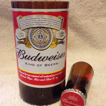 Budweiser Beer Bottle Shot Glass Chaser Set. Recycled Glass Bottle. Man Cave.