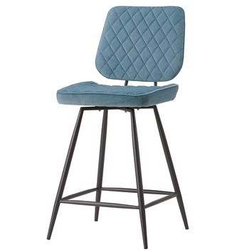 Lawson Velvet Fabric Swivel Counter Stool Conrad Teal (Set of 2)
