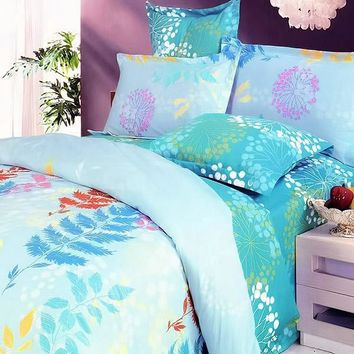 [Turquoise Spring] 100% Cotton 5PC Comforter Set (Queen Size)