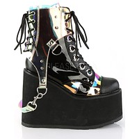 PRE-ORDER : Platform Wedge Boots with Removable Clear Hologram PVC Harness