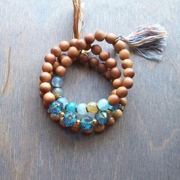 Blue Boho bracelet, sandal wood beads and Czech glass beads, stacking bracelet, hippie stretch bracelet