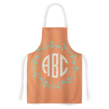 "Kess Original ""Classic Orange Wreath Monogram"" Green Illustration Artistic Apron"