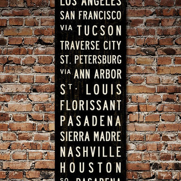 MAKE YOUR OWN Custom Subway Sign. Bus Scroll Art. Canvas Poster. Transit Sign. 20.5 x 60