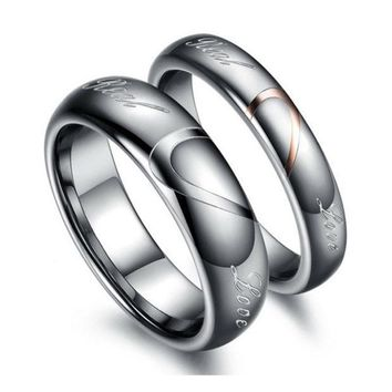 PEAPIX3 Tungsten Carbide Lover's Matching Heart Promise Real Love Couples Rings = 1930042884