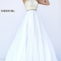 Sleeveless Long Sherri Hill High Neck Prom Dress