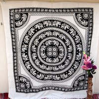 White Black Elephant Round Mandala Large Tapestry, Indian Ethnic Wall Decor, Table Runner Bed Sheet, Hippie Dorm Decor - Beach Sheet - Hanging Wall