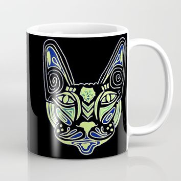 Mandala Neon Cat Mug by MaksciaMind