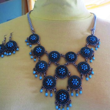 statement ,bubble bib necklace,beadwork necklace, unique beaded necklace and earrings with crochet chain bridesmaid  party gift