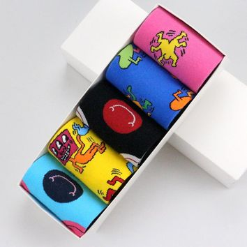 5 Pairs Cartoon Character/Smiley Face Colorful keith haring Funny Women Men Unisex Socks Fancy Happy Socks Cotton Cozy Socks