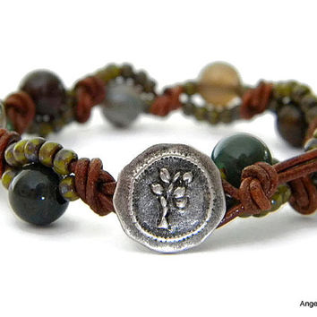 Tree Wrap Bracelet Entwined Leather Fancy Jasper Wrap Bracelet