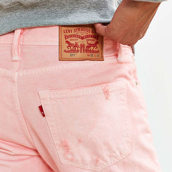 Overdyed Pink Destructed Levis 511 Slim Jean - Urban Outfitters