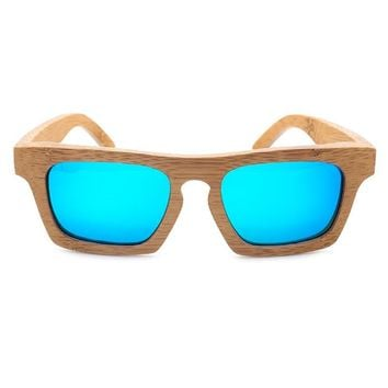 BOBO BIRD Polarized Square Wooden Sunglasses Women Vintage Natural Bamboo Sun Glasses Men Eyewear with Wood Box Oculos C-BG002