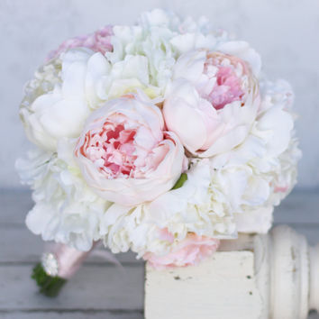 Silk Bride Bouquet Peony Peonies Shabby Chic Vintage Inspired Rustic Wedding (item F10384)