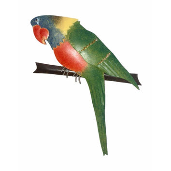 D Art Collection Iron Green Parrot WallDecor