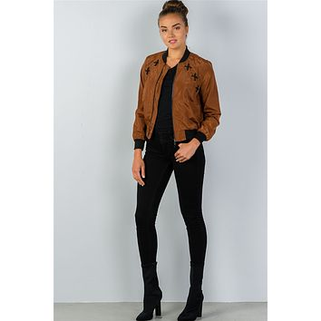 Ladies fashion front zipper closure sides lace-up bomber jacket