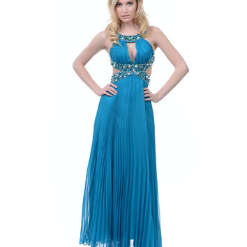 Teal Chiffon Grecian Cut Out Prom Dress