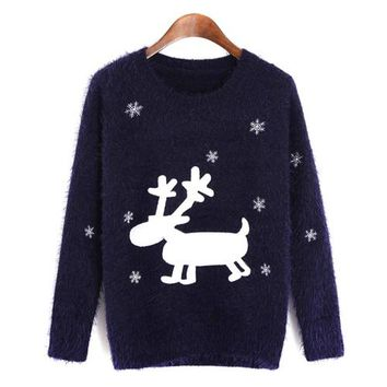 Lychee Autumn Winter Casual Women Mohair Sweater Xmas Deer Print Christmas Jumper Soft Jersey Pullover Knitwear