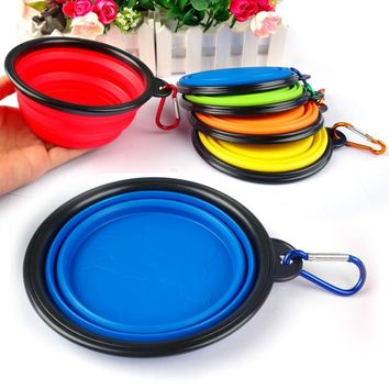 Cute Puppy Pet Travel Bowls Silicone Collapsible Feeding Bowl Dog Water Dish Cat Portable Feeder