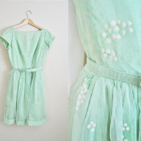 The Daisy - Vintage 60s Green Pastel White Daisy Velvet Print Belted Party Dress