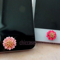 Bling home button sticker Cell Phone Charm  daisy 4 by blingcase
