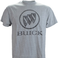 Buick Distressed Logo Vintage Print on a Sports Grey T Shirt