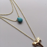 Layered Shark Tooth with Teardrop Turquoise Pendant Necklace