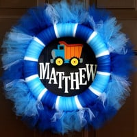 Kids Tutu Wreath Custom Name Childs Room Baby Shower