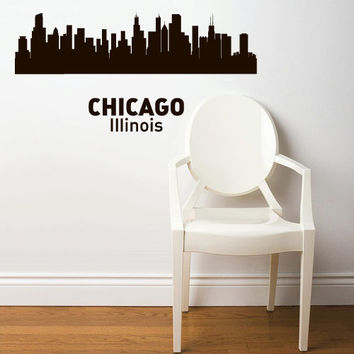 Wall Vinyl Sticker Decals Decor Art Bedroom Design Mural Words Sign Town City Skyline Chicago Illinois (z3050)