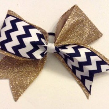 Gold Sparkle & Navy Chevron Cheer Bow