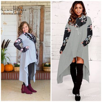 2018 Fall Women's Hi Low Gray & Black Sweater Hooded Dress