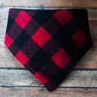 "Bandana Bib - Baby Boy - Red and Black Buffalo Check  ""Jack"""