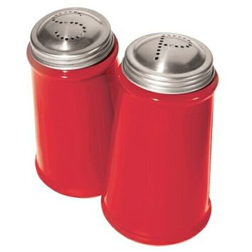 Red 2 Piece Salt and Pepper Shaker with Stainless Steel Tops