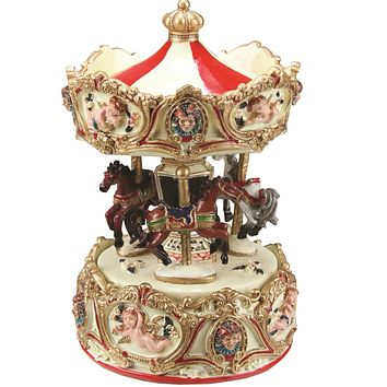 "6.25"" Animated Musical Clown and Cupid Carousel with Canopy and 3-Horses Table Top Decoration"