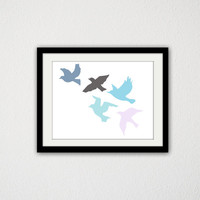 "Birds Flying. Nursery. Baby boy. Baby Girl. Animals. Fly. Blue and Pink. Home Decor. Kids Bedroom. 8.5x11"" Print"