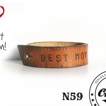 Handmade Leather Bracelet with costomise text - Be brave Text - Cuff with a comfortable fashion clasp-  Wristband Cuff - Unisex Bracelet