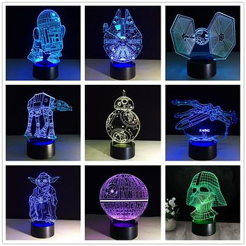 3D Star Wars Lamp 7 Color LED USB Night Light For Kids